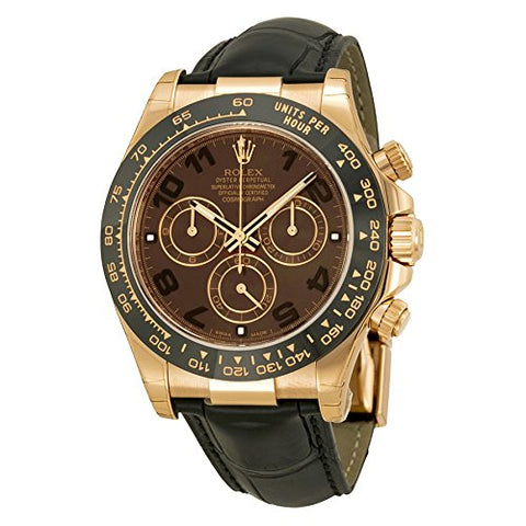 Rolex Daytona Chocolate Automatic Black Leather Mens Watch 116515CHOAL