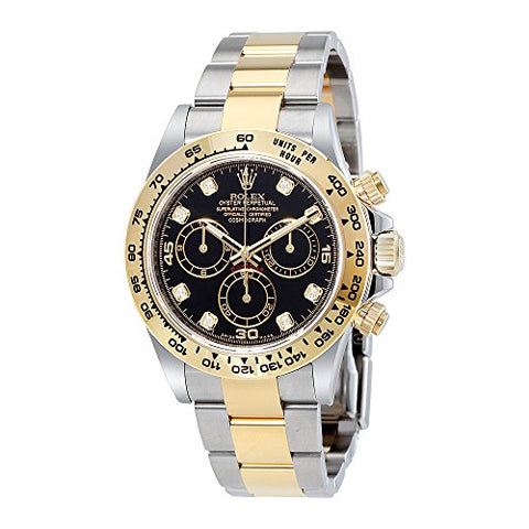 Rolex Cosmograph Daytona Black Diamond Dial Steel and 18K Yellow Gold Mens Watch 116503BKDO