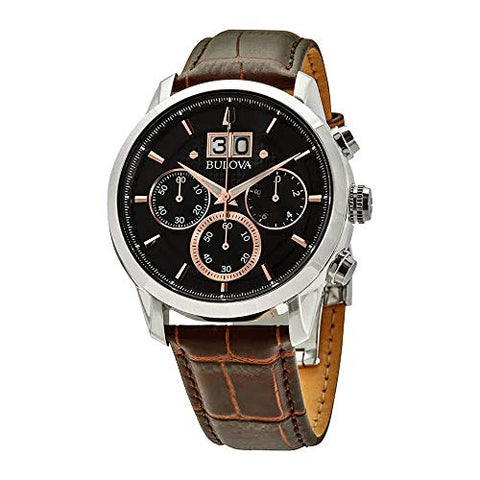 Bulova Sutton Chronograph Black Dial Leather Men's Watch 96B311