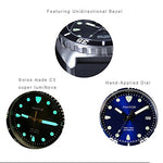 Pantor Sealion 300m Automatic 42mm Pro Dive Watch with Helium Valve Rotating Bezel Sapphire Blue dial Stainless Steel Bracelet & Rubber Strap Sports Watch