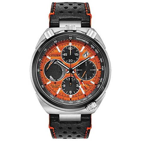 Citizen Mens Eco-Drive Watch Limited Edition AV0078-04X Black Orange