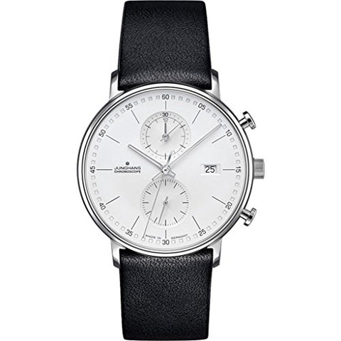 Junghans Form C Chronoscope Quartz Matt Silver Watch | Black Calfskin 041/4770.00
