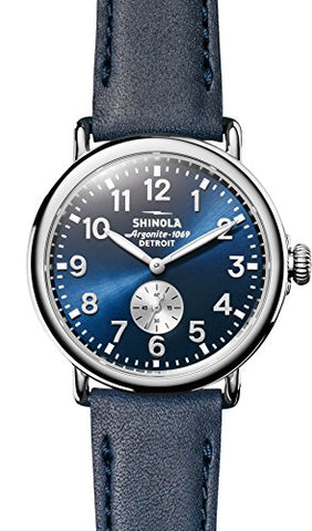 Shinola Unisex Runwell Watch S0120044133, Midnight Blue/ Ocean Leather 41mm