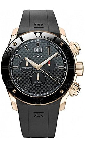 Edox Men's 10020 37R NIR Chronoffshore Analog Display Swiss Quartz Black Watch