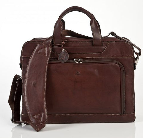 Tony Perotti Italian Cow Napoli Laptop Zip-Around Double Compartment Leather Briefcase