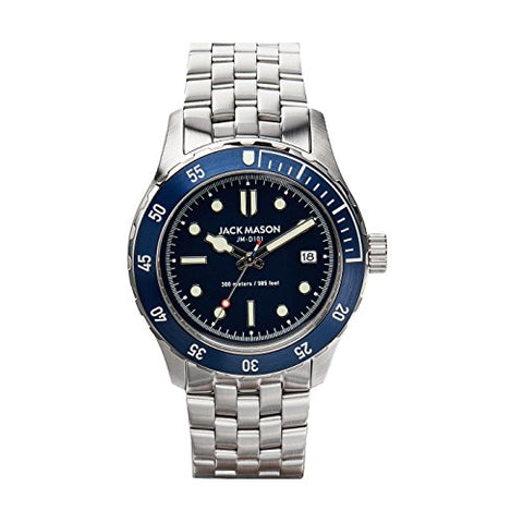 Jack Mason Diving 3Hands Stainless Steel Bezel and Bracelet Navy Dial