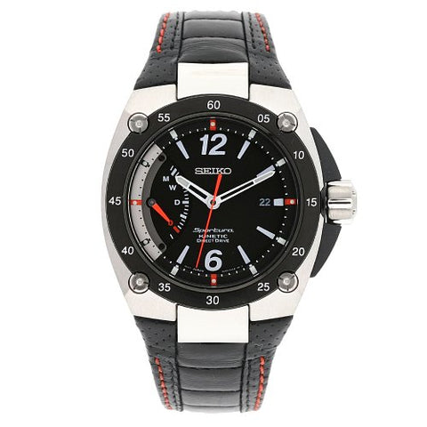 Seiko Men's SRG005P2 Sportura Stainless Steel Black Dial Automatic Leather Strap Watch