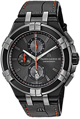 Maurice Lacroix Men's 'Aikon' Swiss Quartz Stainless Steel and Leather Watch, Color:Black (Model: AI1018-PVB01-334-1