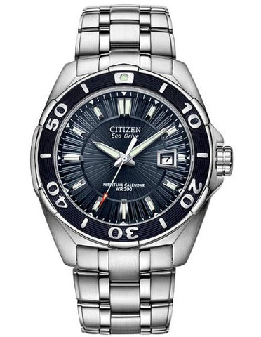 Citizen Men's BL1258-53L The Signature Collection Blue Dial Stainless Steel Watch