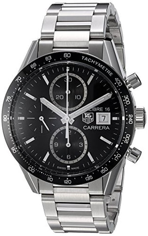 TAG Heuer Men's 'Carrera' Swiss Automatic Stainless Steel Dress Watch, Color Silver-Toned (Model: CV201AJ.BA0727)