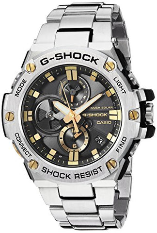 Casio Men's 'G-Shock' Quartz Resin and Stainless Steel Dress Watch, Color:Silver-Toned (Model: GST-B100D-1A9CR)