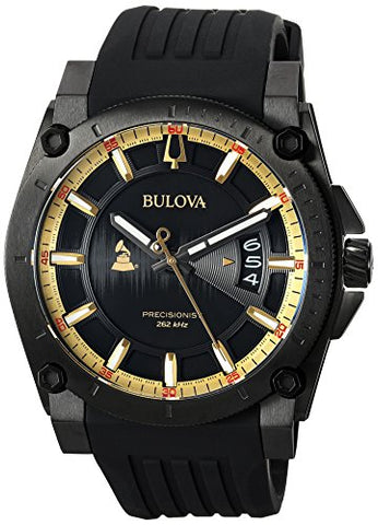 Bulova Men's Grammy Watch Stainless Steel Analog-Quartz Silicone Strap, Black, 24 (Model: 98B294)