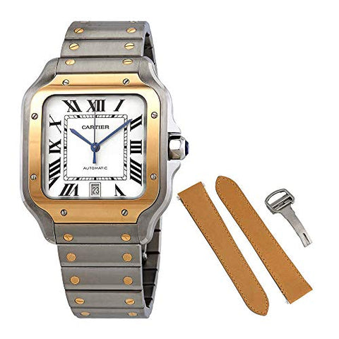 Cartier Santos Automatic Silvered Opaline Dial Steel and 18kt Yellow Gold Men's Watch W2SA0006