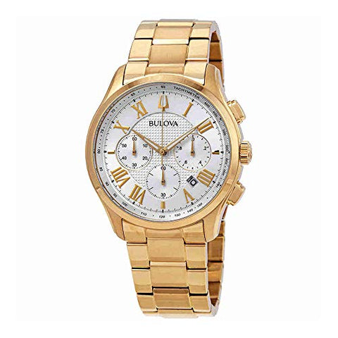 Bulova Dress Chronograph Silver Dial Yellow Gold-Tone Mens Watch 97B171