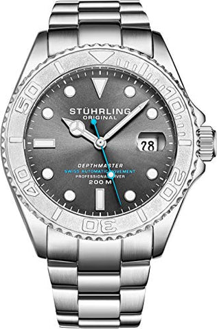 "Mens Swiss Automatic Stainless Steel Professional""DEPTHMASTER"" Dive Watch, 200 Meters Water Resistant, Brushed and Polished Bracelet with Divers Safety Clasp and Screw Down Crown (Grey)"
