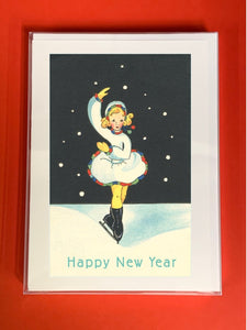 Happy New Year Skater - Boxed Note Cards