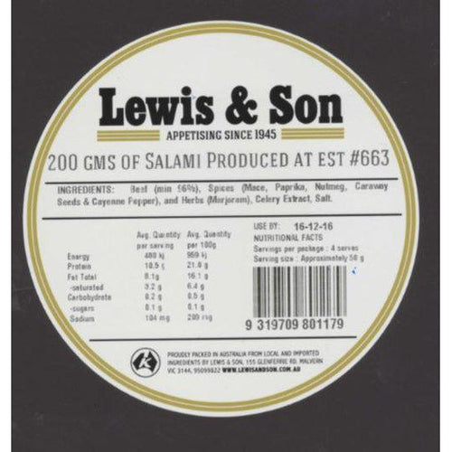 Lewis & Son Natural Beef Salami Sliced (200g) - VIC & NSW Delivery Only