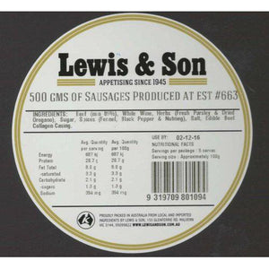 Lewis & Son Natural Italian Sausages (500g)