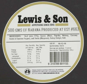 Lewis & Son Natural Kabana (500g) - VIC & NSW Delivery Only