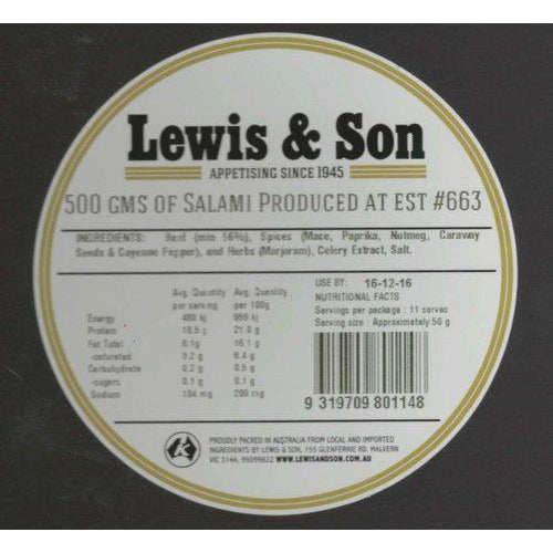 Lewis & Son Natural Beef Salami Chub (500g) - VIC & NSW Delivery Only