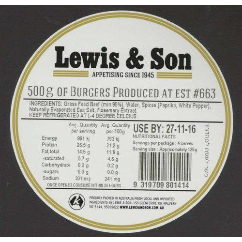 Lewis & Son Natural Beef Burgers (500g) - VIC & NSW Delivery Only