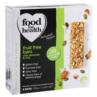 Food for Health Fruit Free Bars with Almonds & Chia (6 Bars, 150g)