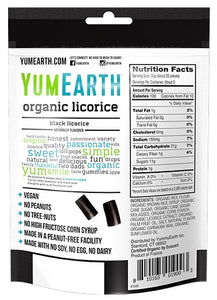 Yum Earth Organic Gluten Free Black Licorice (142g)