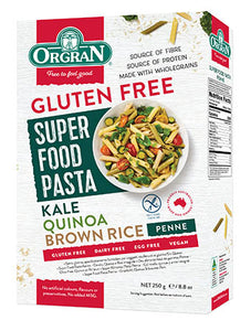 Orgran Superfood Pasta Penne – Kale, Quinoa & Brown Rice (250g)