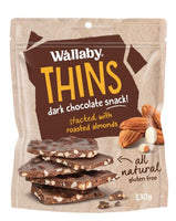 Wallaby Thins Dark Chocolate Almond (130g)