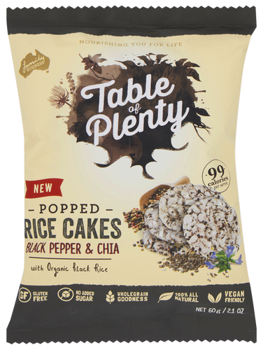 Table of Plenty Mini Rice Cakes Savoury Black Pepper & Chia (60g)