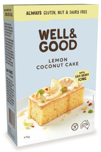 Well & Good Lemon Coconut Cake with Goji Berry Icing (475g)