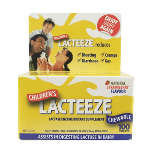Lacteeze Children's Strength Strawberry Flavour (100 Tablets)