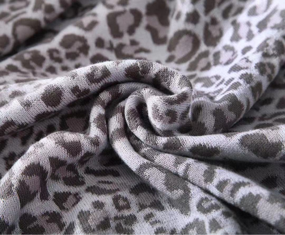 Leopard Throw Blanket - Grey