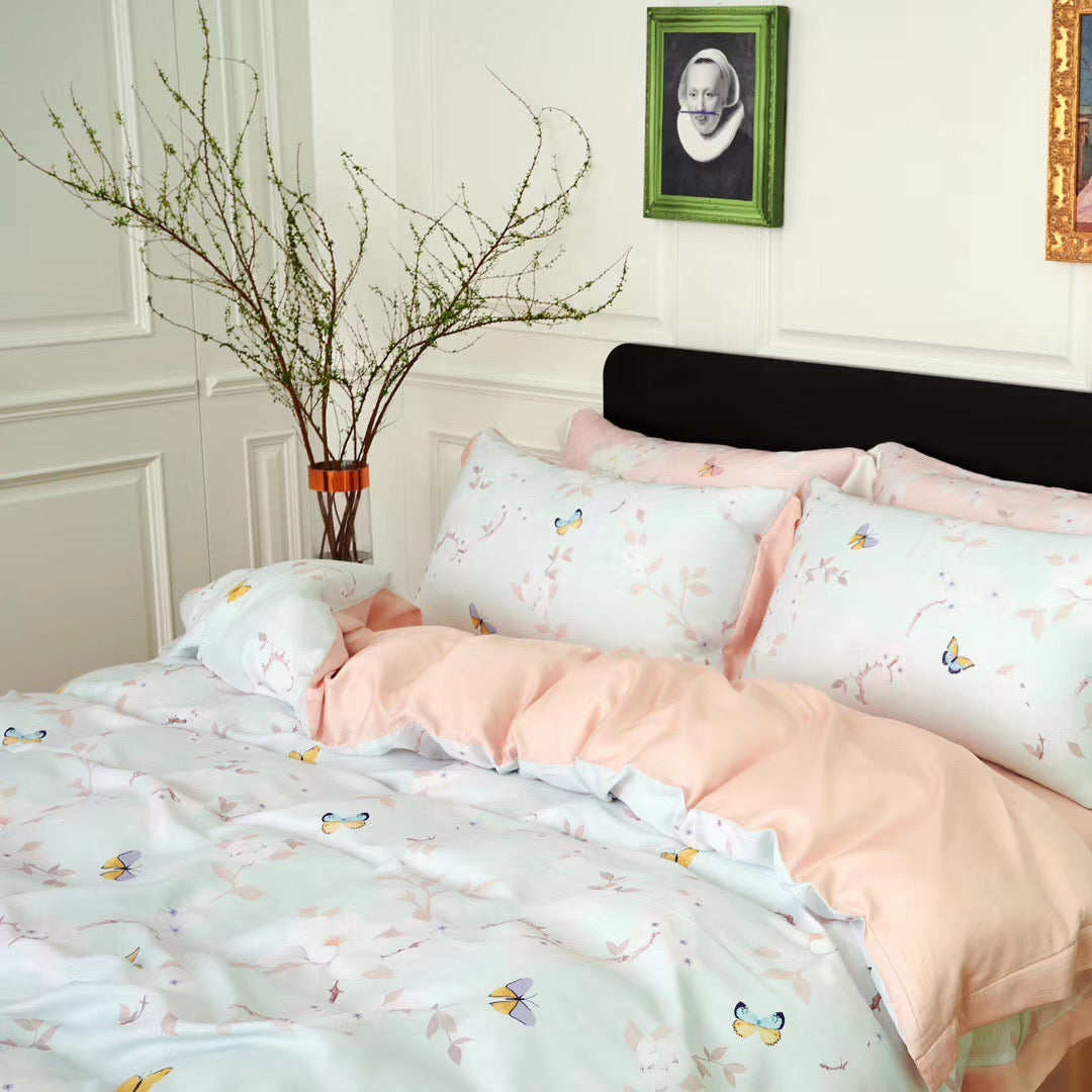 Spring Butterfly Bed Suit - White