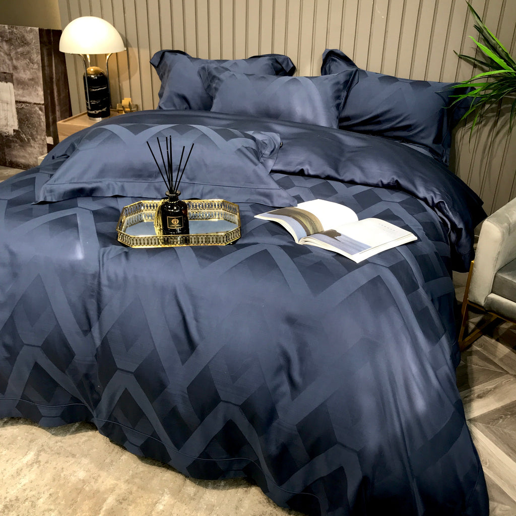 Chevron faded pattern - Dark Blue Bed suit