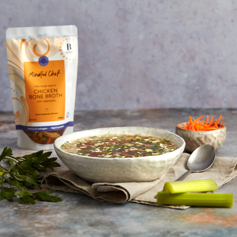 Free-range organic chicken broth with vegetables
