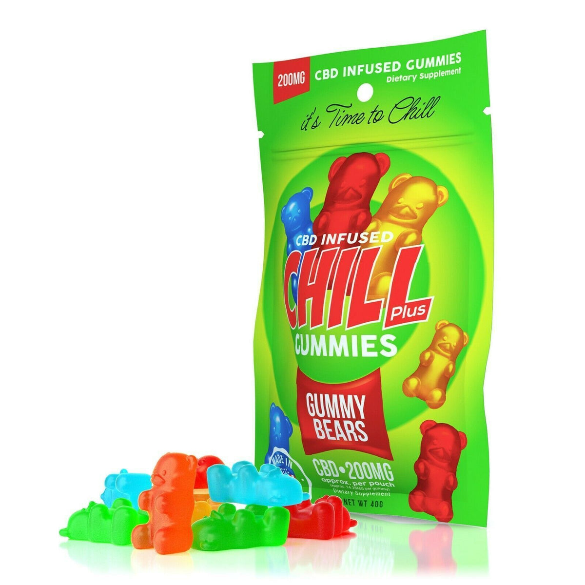 Chill Plus Gummies - CBD/Hemp Infused Gummy Bears - 200mg