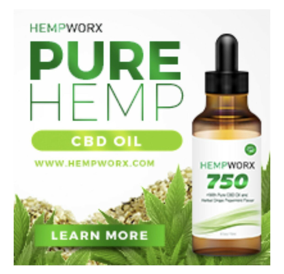 Hempworx 750mg CBD2 Peppermint Pure Oil 100% Organic 100% Authentic