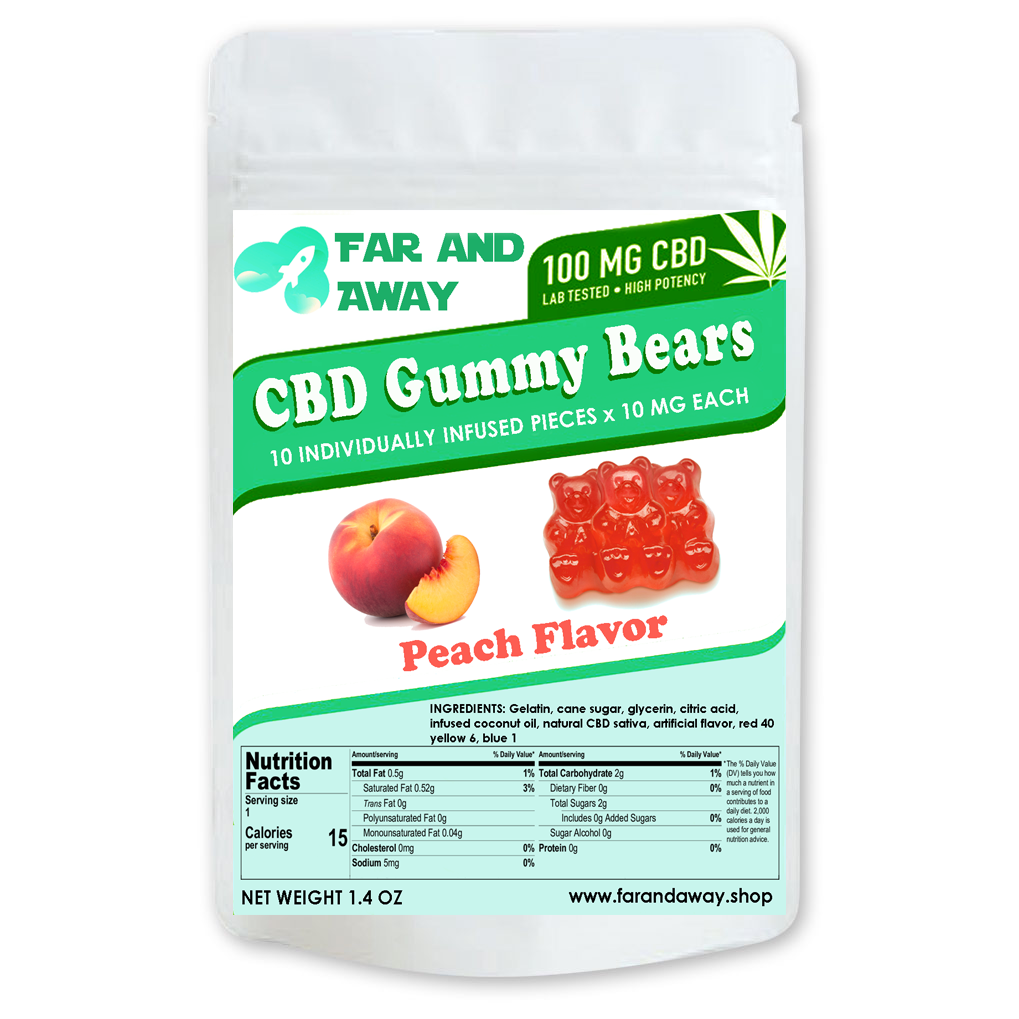 Far & Away Peach Gummies - CBD/Hemp Infused Gummy Bear - 100mg - 10 pieces