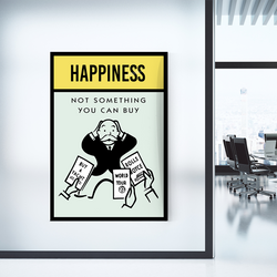 Happiness Monopoly Office Home Wall Art Painting Canvas