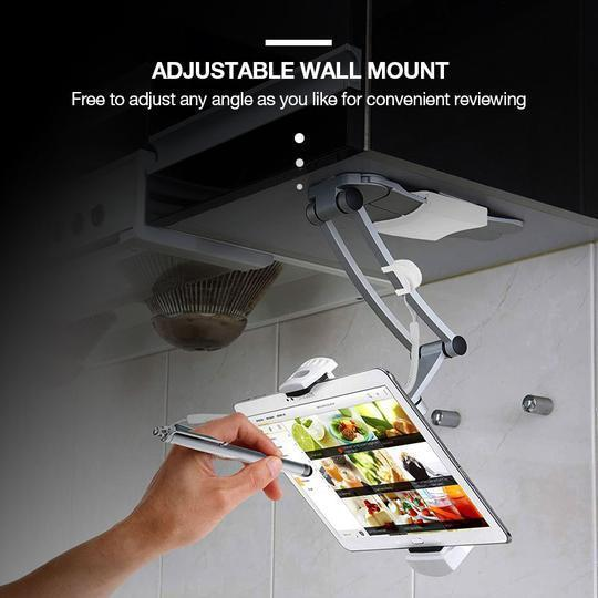 Desktop & Wall Pull-Up Lazy Bracket - Kitchen Tablet Metal Stand Mount Fit For 5-10.5 inch Width Smartphones