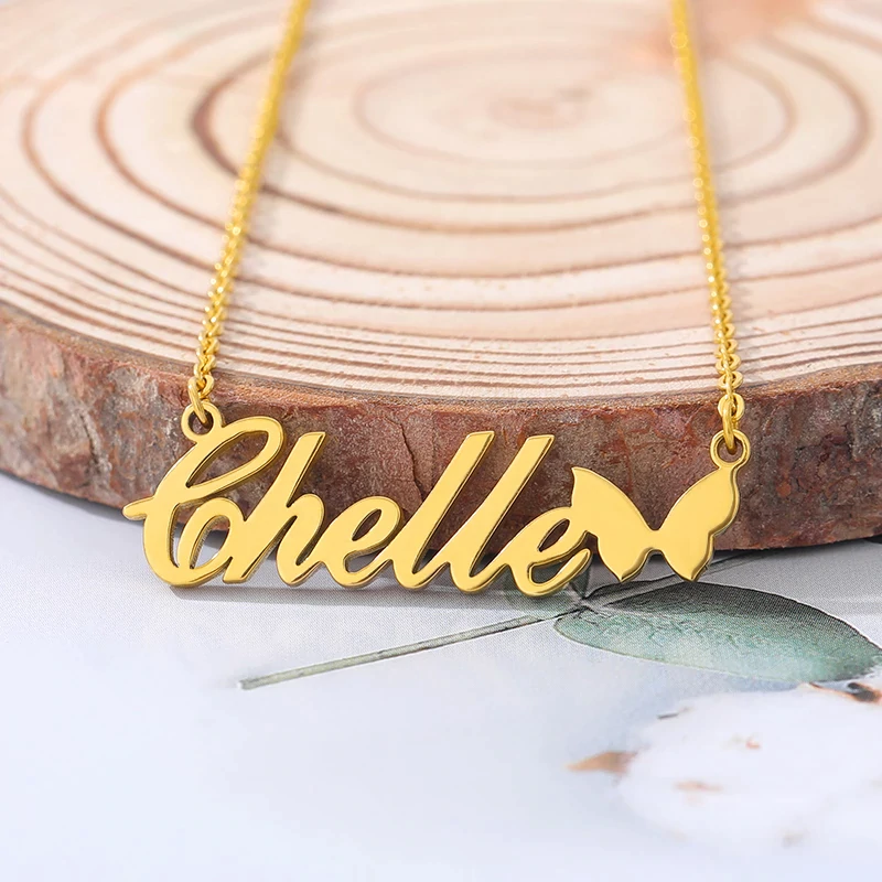 Name Necklace With Butterfly Unique Gift