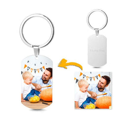 Photo Engraved Tag Key Chain With Engraving Color