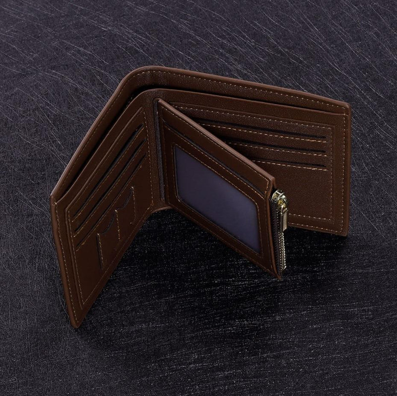 Men's Genuine Leather Trifold Personalized Engraved Wallet With Zipper Pocket
