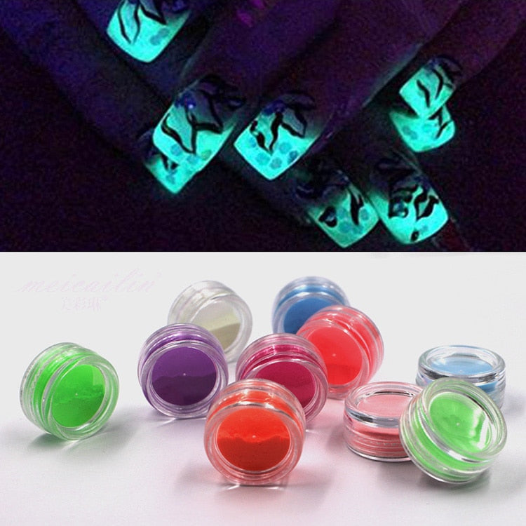 Neon Phosphor Nail Glitter Powder 10 Colors