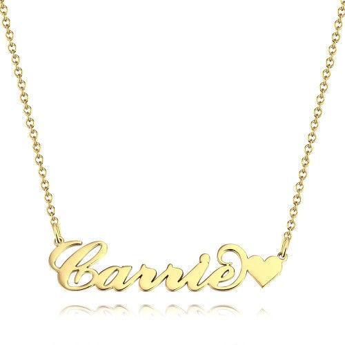 Carrie Style Name Necklace With Little Heart Unique Gift