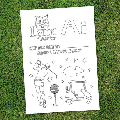 I Love Golf Colouring Sheet (Free Download)-Lynx Golf UK