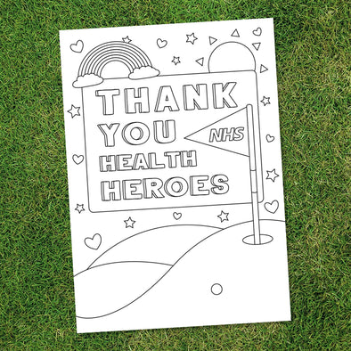 Thank You Health Heroes Colouring Sheet (Free Download)-Lynx Golf UK