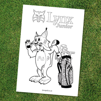 Larry the Lynx Ai Colouring Sheet (Free Download)-Lynx Golf UK