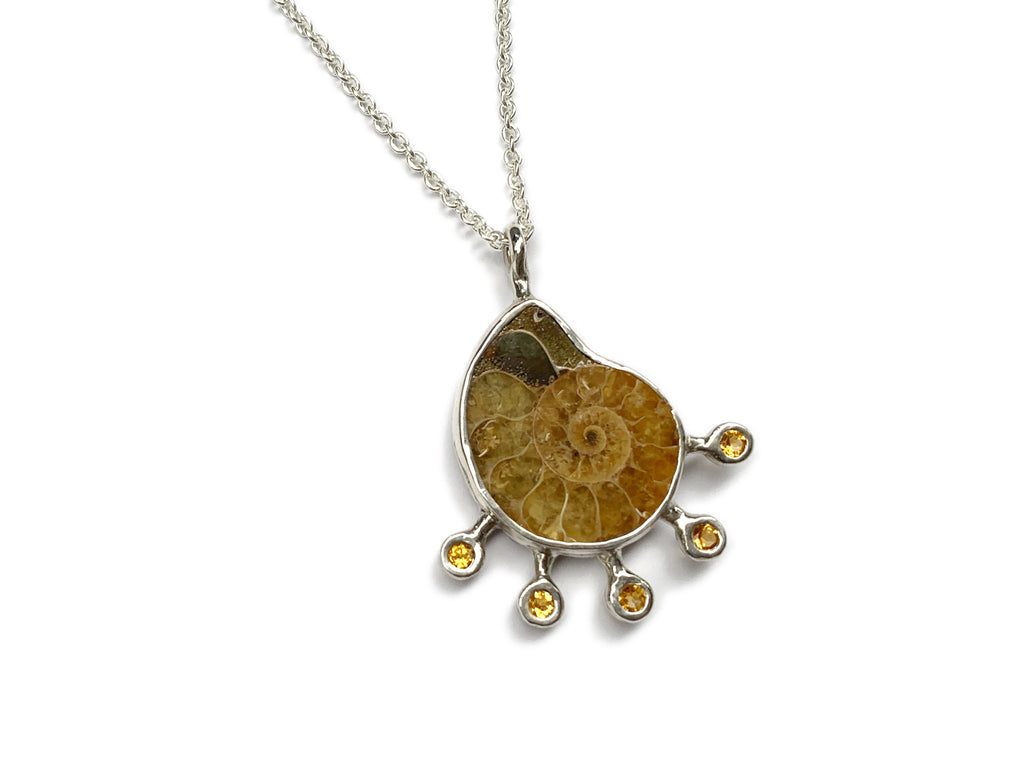 Ammonite and citrine on silver